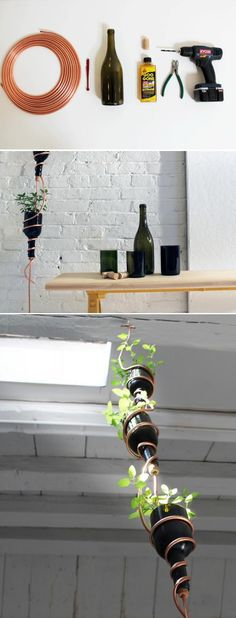 Turn empty wine bottles into a hanging herb garden: The idea is to use the copper tubing as a central axis for the garden. You would have to first hang one end to the ceiling using a hook or whatever you find appropriate.