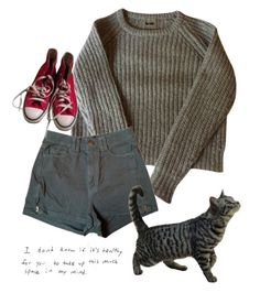 """""""good morning"""" by fuck0ffbye ❤ liked on Polyvore featuring American Apparel and Converse"""
