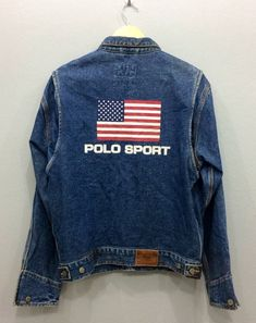 Extremely Rare POLO SPORT Ralph Lauren Denim Jacket Authentic Dungarees Big  Logo Flag USA Streetwear Hiphop Clothing Chest 23.5