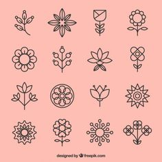 than 3 millions free vectors, PSD, photos and free icons. Exclusive freebies and all graphic resources that you need for your projects Embroidery Motifs, Hand Embroidery Designs, Mini Tattoos, Small Tattoos, Pattern Art, Pattern Design, Mini Drawings, Flower Doodles, Grafik Design