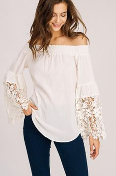 Vintage Hippie, Crochet Trim, Look Chic, Off The Shoulder, Shoulder Tops, Wholesale Clothing, Size Model, Blue And White, Blue Grey