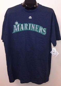 NEW/NWT Seattle Mariners Majestic Wordmark T-Shirts - Official MLB #Majestic #SeattleMariners