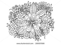 Zentangle. Flower pattern. White and black floral doodles - stock vector