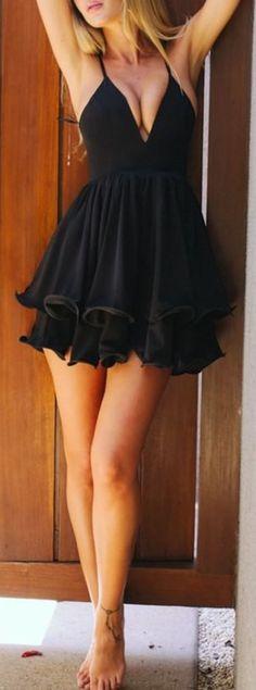 Sexy Deep V Neck Spaghetti Strap Pleated Ruffle Short Skater Mini Dress // More…