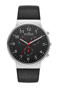 Skagen+'Ancher'+Round+Chronograph+Leather+Strap+Watch,+40mm+available+at+#Nordstrom