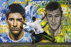 Brazil fan in front of Messi & Neymar mural Brazil Vs Argentina, Messi Argentina, Messi And Neymar, Lionel Messi, World Cup 2014, Fifa World Cup, World Cup Groups, American Giant, World Street