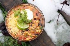 Crockpot Quinoa & Chicken Enchilada Soup.  Amazing!  @Martha Hutchingsthis is a great gluten free dinner!