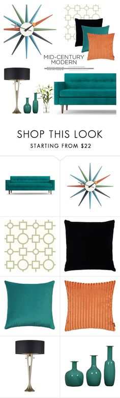 """Clean Spaces: Mid-Century Modern"" by catchsomeraes ❤ liked on Polyvore featuring interior, interiors, interior design, home, home decor, interior decorating, Joybird, WALL, Brewster Home Fashions and Kevin O'Brien"
