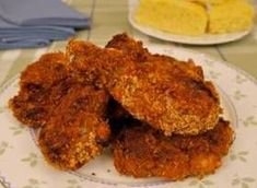 (CRISPY OVEN FRIED CHICKEN)Get crispy fried chicken by baking, rather than frying, using this recipe--which has the pieces soaked in buttermilk and coated with seasoned cornflake crumbs. Crispy Oven Fries, Crispy Oven Fried Chicken, Baked Chicken, Healthy Stuffed Chicken Breast, Easy Chicken Recipes, Sweet Recipes, Easy Recipes, Healthy Recipes, Turkey Dishes