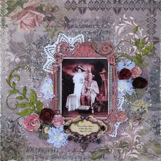 Scraps of Darkness scrapbook kits: Kathy Mosher created this romantic heritage / vintage photo layout using the Blue Fern Studios Timeless papers and other items in our February kit 'Heirloom'. Subscribe to our kits and receive a new box of mixed media scrapbooking fun delivered to you each month. www.scrapsofdarkness.com