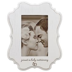 Cottage style wedding memory photo frame, elegant in color and shape! Looks great with black and white or sepia tone photos.