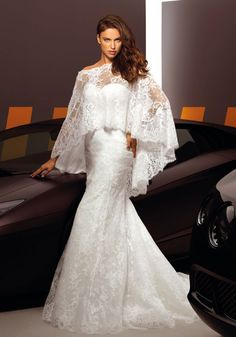 Irina Shayk for Alessandro Angelozzi Couture 2013.  Beautiful to wear the shawl for church and remover for reception.