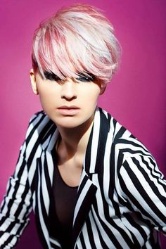 Short hair and stripes - cute...and the color is fun too!
