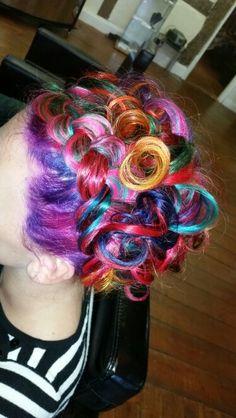 Rainbow updo with petal plait effect