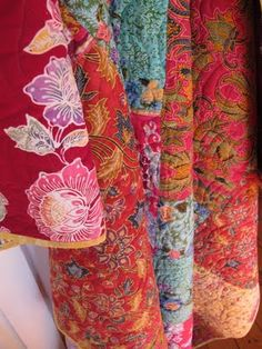 Antique Indonesian batiks, pieced and quilted.                        Great Colors