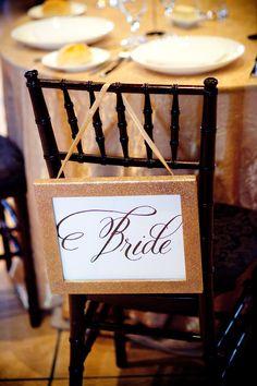 wedding chicks bride and groom free printables for sweetheart table #sweethearttable #freeprintables #weddingchicks http://www.weddingchicks.com/2014/01/30/pink-and-peach-bejeweled-wedding/