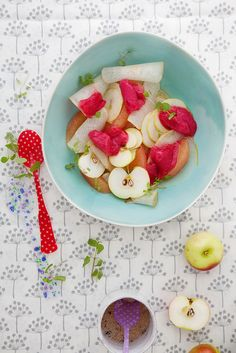cranberry sorbet and its refreshing fruit salad