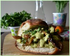 Messy and delicious Mexican-spiced roast veggie sandwich with guacamole and spicy green-chile-chipotle-cilantro dressing.
