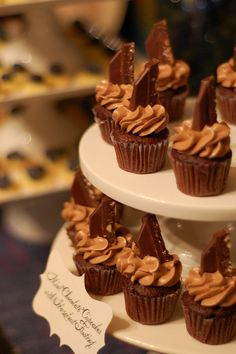 Mini Dark Chocolate Cupcakes with Nutella Buttercream and Dark Chocolate Tobler Bar