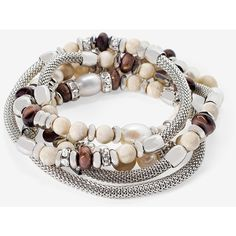 White House Black Market Brown Agate Riverstone & Pearl Stretch... ($45) ❤ liked on Polyvore featuring jewelry, bracelets, brown jewelry, pearl jewelry, pearl jewellery, hand crafted jewelry and brown bangles