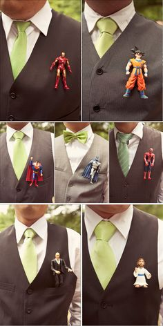 Superhero boutonnieres. Each groomsmen can wear their favorite!