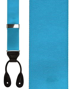 Turquoise Grosgraine Ribbon Suspenders (Button Ends)