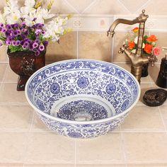 Blu e bianco jingdezhen fabbrica direttamente mano lavabo in ceramica in Blu e bianco jingdezhen fabbrica direttamente mano lavabo in ceramica da Lavelli da bagno su AliExpress.com | Gruppo Alibaba