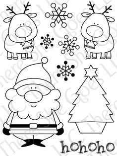 Santa, reindeer, snowflakes and Christmas tree, what more could you ask for in a design template. provare a intagliare su substrato per fare timbri. Christmas Doodles, Noel Christmas, Christmas Colors, Winter Christmas, Christmas Projects, Christmas Crafts, Christmas Decorations, Christmas Ornaments, Christmas Templates