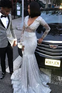 This beautiful Unique V-Neck Long Sleeves Sequins Mermaid Floor-Length Prom Dresses will make your guests say wow. The V-neck bodice is thoughtfully lined, and the Floor-length skirt with Sequined to provide the airy, flatter look of . Prom Girl Dresses, Prom Dresses Long With Sleeves, Prom Outfits, Prom Dresses For Sale, Black Prom Dresses, Mermaid Prom Dresses, Bridesmaid Dresses, Wedding Dresses, Prom Gowns