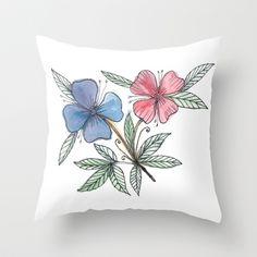 painted flower Throw Pillow by aticnomar - $20.00 Decorating Blogs, Home Decor Inspiration, Keep It Cleaner, Diy Home Decor, Throw Pillows, Bedroom, Flowers, Painting, Etsy