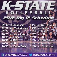 K-State Volleyball 2012 Big 12 Schedule. For more information visit: http://www.kstatesports.com/sports/w-volley/sched/ksu-w-volley-sched.html