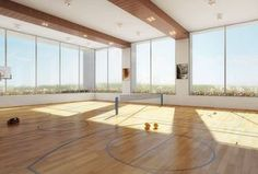 Modern Home Gym with Northern hardwood company wood gym flooring, First Team RollaSport III Portable Basketball System