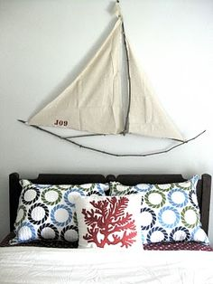DIY Sailboat made out of tree branches and canvas drop cloth!- j lee thought if you