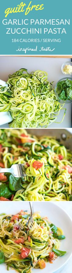 Guilt-Free Garlic Parmesan Zucchini Noodles Pasta Recipe -- How to make our 20-minute zucchini noodle pasta recipe with garlic, tomatoes, basil, and parmesan cheese.