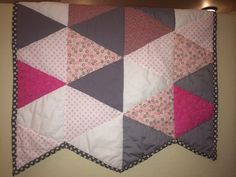 Pink and grey geometric quilt FINISHED 40x58 by knottygypsy