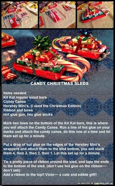 Easy Christmas Treats and Snacks for School Parties You'll Love Health & Fitness - Mastercrafter - DIY Christmas Ideas ♥ Homes Decoration Ideas Christmas Candy Crafts, Christmas Sled, Easy Christmas Treats, Christmas Goodies, Homemade Christmas, Diy Christmas Gifts, Simple Christmas, Holiday Crafts, Holiday Fun