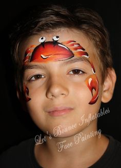 Crab Face Painting by Let's Bounce Inflatables, Vancouver BC w/ one stroke fire cake