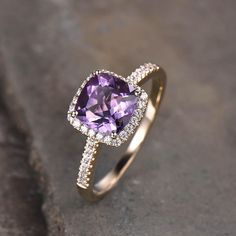 Purple Amethyst Diamond Halo Engagement Ring Cushion Cut | BBBGEM
