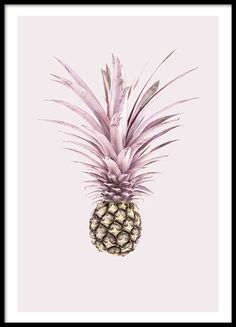 Playful pineapple print on pink background. Find more posters for the kithen at www.desenio.com