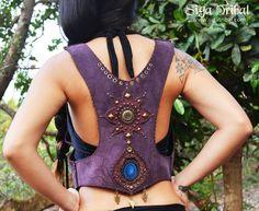 PURPLE VEST leather pixie gypsy
