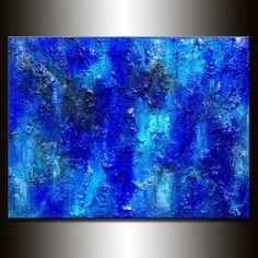 Original peinture texturée grand bleu abstrait, beaux-arts contemporains modernes par Henry Parsinia 48 x 36
