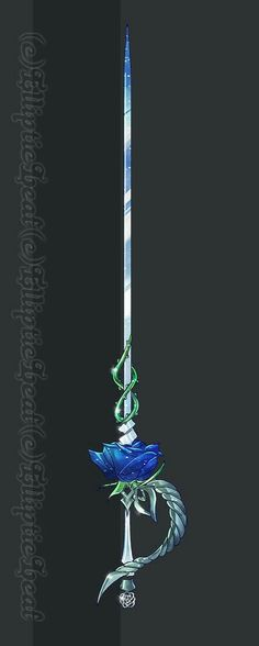Sword, rose, blue, green; Anime Weapons