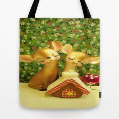 The Gingerbread Haus Tote Bag by Vintage  Cuteness - $22.00#vintage #kitsch #gingerbread #haus #xmas #christmas #tote #bag #mushroom #floral #flowers #children's #deer #doe