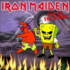Run to the sponge Heavy Metal Art, Heavy Metal Bands, Bruce Dickinson, Rock Posters, Concert Posters, Smiley Horror, Arte Pink Floyd, Music Memes Funny, Iron Maiden Posters
