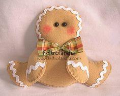 Es una preciosa y tierna galletita de jengibre, elaborada en fieltro