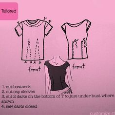 T-shirt refashion - yet another way to redo some over-sized t-shirts into something more fitted and