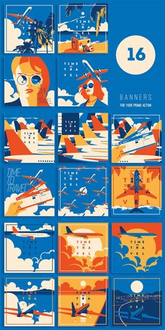 Air Travel Illustrations / with Airplanes, Air Tickets, Girls Portraits and Sky. Similar Banners for your social media or promo action. Abstract Illustration, Travel Illustration, Retro Illustration, Graphic Design Illustration, Airplane Illustration, House Illustration, Vector Illustrations, Game Design, Web Design