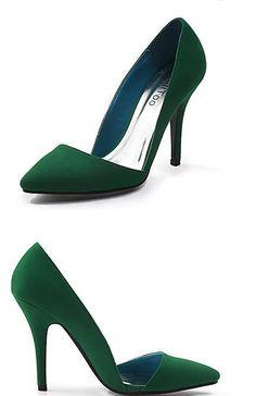 green Suede Stiletto Heel