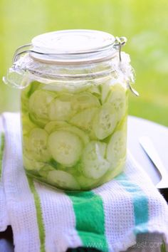 Grandma's Cucumber Salad~ I just made a batch of these. I have nothing better to do with my Dad's summer harder cucumbers.
