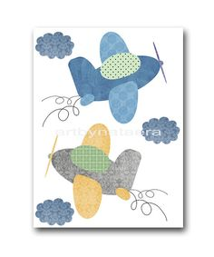 Plane Art for Children Kids Wall Art Baby Boy Room by artbynataera, $14.00